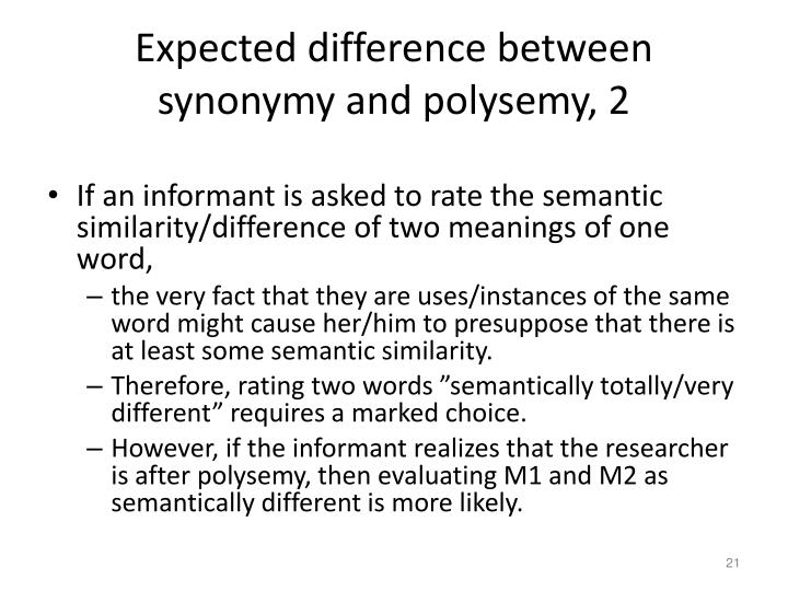 Expected difference between synonymy and polysemy, 2