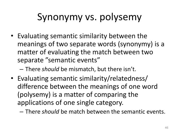 Synonymy vs. polysemy