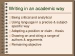 writing in an academic way