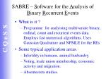 sabre s oftware for the a nalysis of b inary r ecurrent e vents