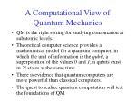 a computational view of quantum mechanics