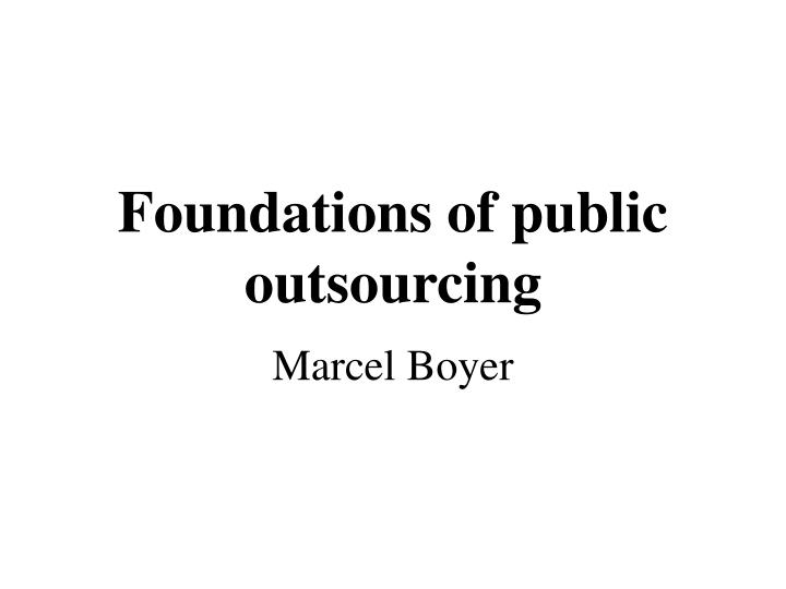 foundations of public outsourcing n.