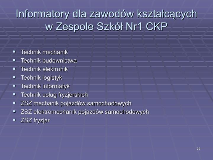 Informatory dla zawodów kształcących w Zespole Szkół Nr1 CKP