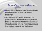 from ockham to bacon