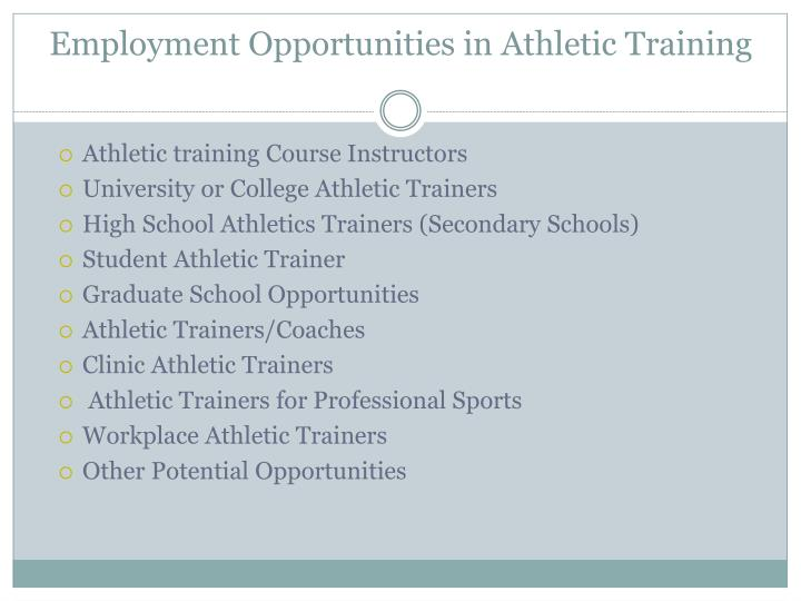Employment Opportunities in Athletic Training