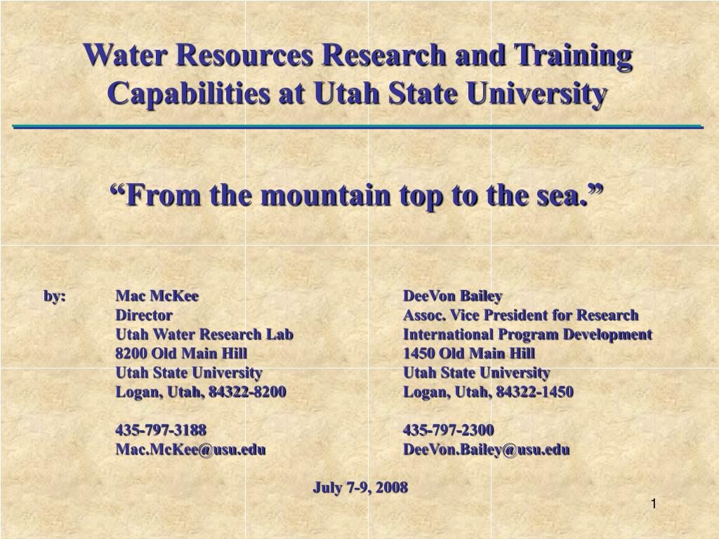 Water Resources Research and Training