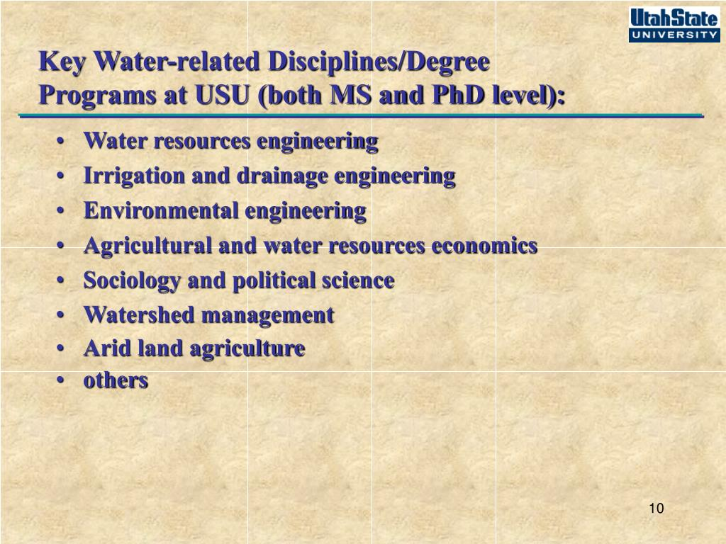 Key Water-related Disciplines/Degree