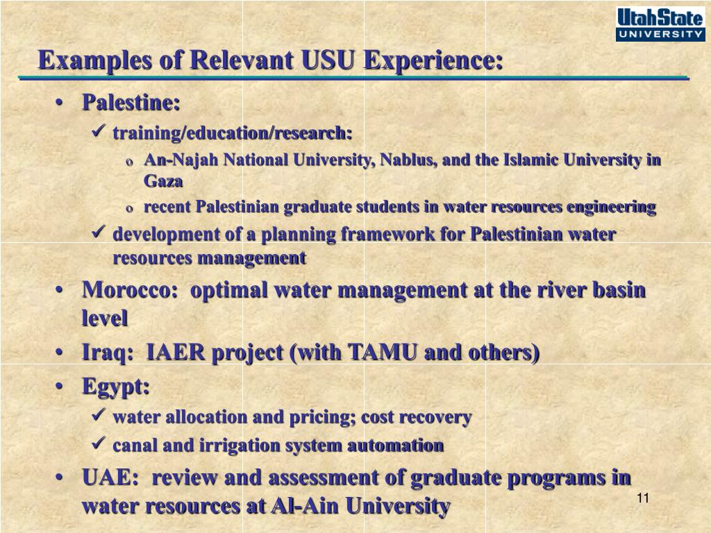 Examples of Relevant USU Experience: