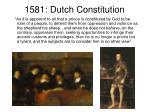 1581 dutch constitution