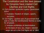the constitution and the laws passed by congress have created civil liberties and civil rights
