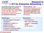 research in ict for enterprise networking
