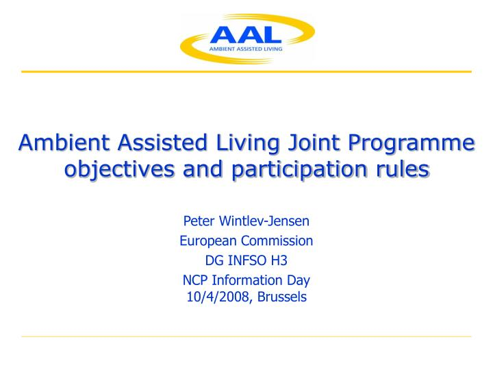 ambient assisted living joint programme objectives and participation rules n.