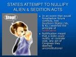 states attempt to nullify alien sedition acts