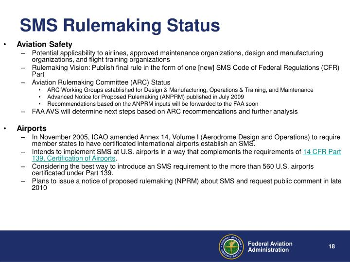 SMS Rulemaking Status