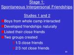 stage 1 spontaneous interpersonal friendships