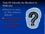 task 1 identify the resident in difficulty
