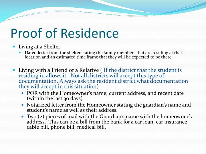 Proof of Residence
