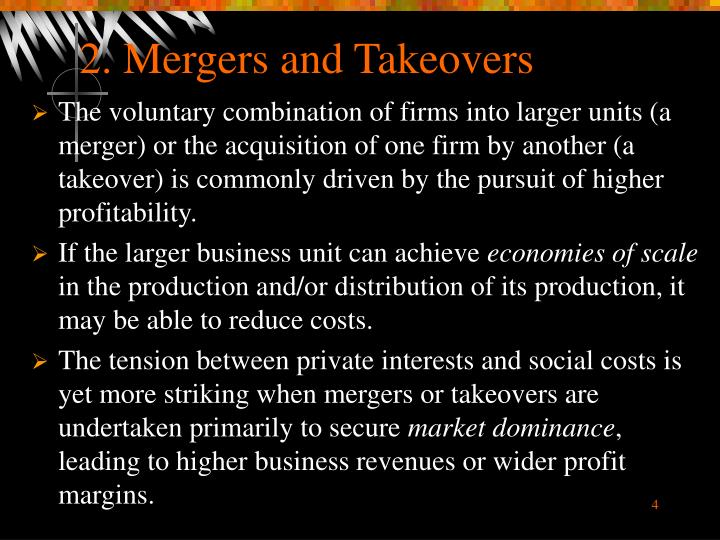 2. Mergers and Takeovers