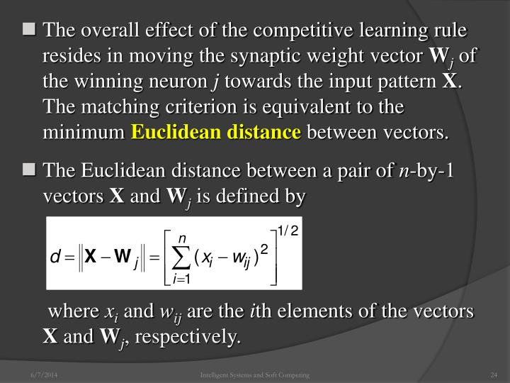 The overall effect of the competitive learning rule resides in moving the synaptic weight vector
