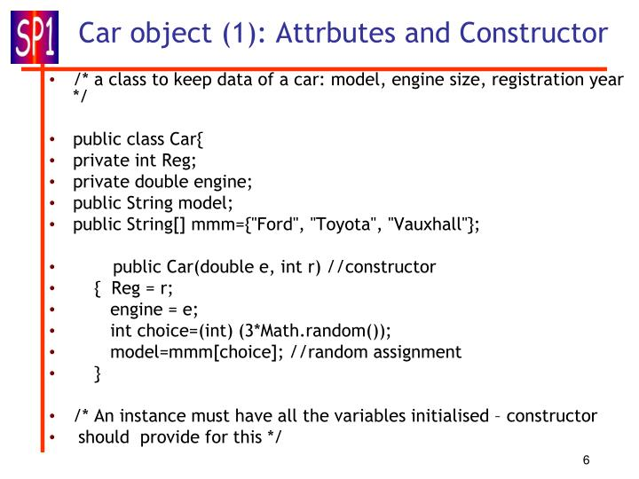 Car object (1): Attrbutes and Constructor