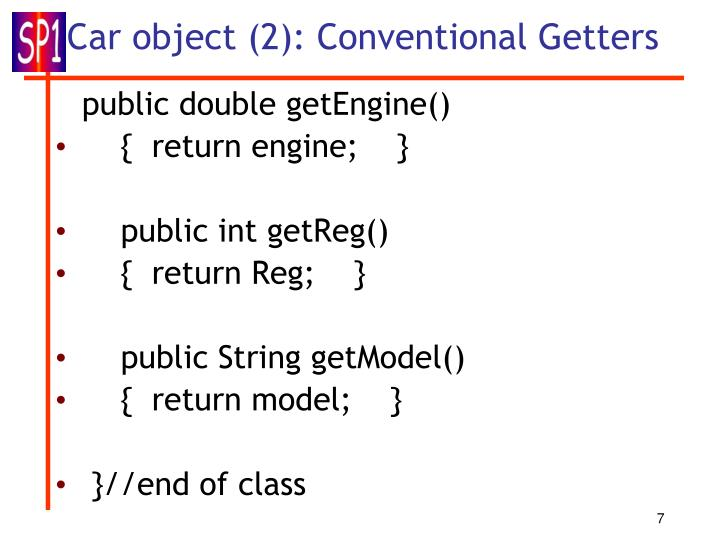Car object (2): Conventional Getters