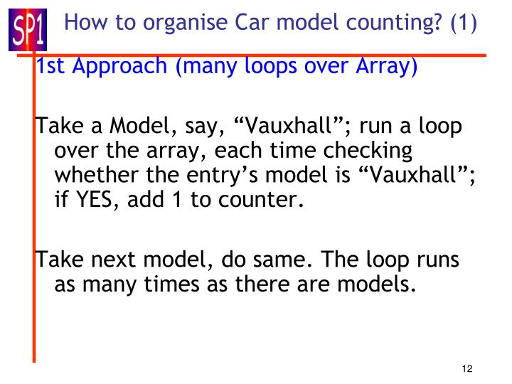 How to organise Car model counting? (1)