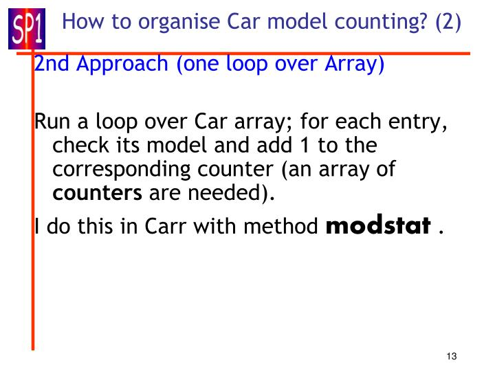 How to organise Car model counting? (2)