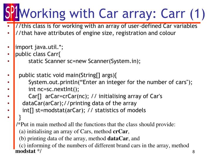 Working with Car array: Carr (1)