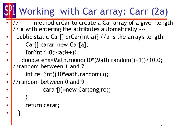 Working  with Car array: Carr (2a)