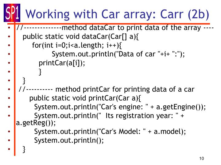 Working with Car array: Carr (2b)