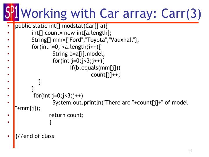 Working with Car array: Carr(3)