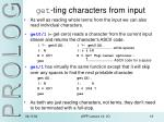 get ting characters from input