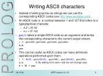 writing ascii characters