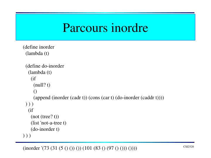 Parcours inordre