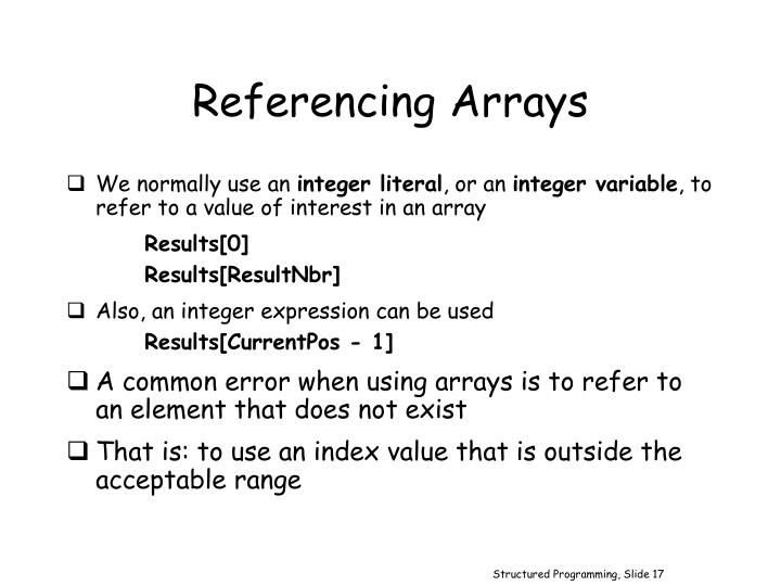 Referencing Arrays