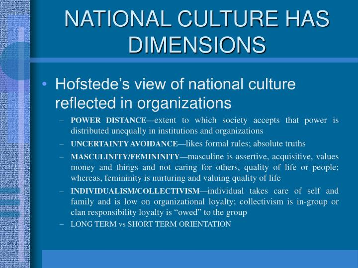 NATIONAL CULTURE HAS DIMENSIONS