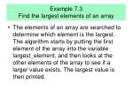 example 7 3 find the largest elements of an array