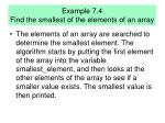 example 7 4 find the smallest of the elements of an array
