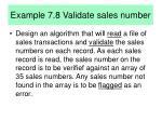 example 7 8 validate sales number