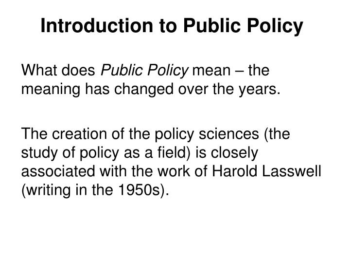 introduction to public policy n.