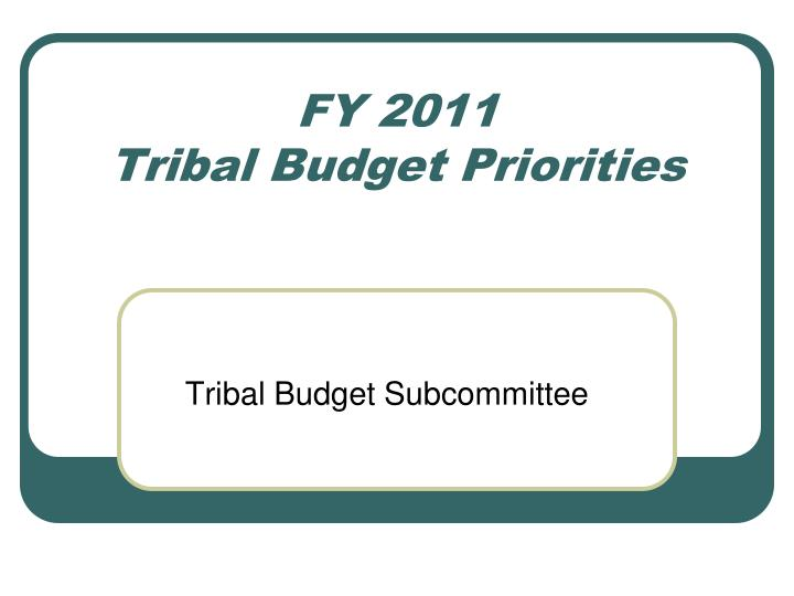 fy 2011 tribal budget priorities n.