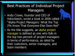 best practices of individual project managers