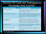 common pm tools and techniques by knowledge area cont d
