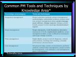 common pm tools and techniques by knowledge area