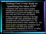findings from 5 year study on quantifying the value of pm