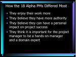 how the 18 alpha pms differed most