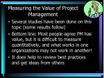 measuring the value of project management