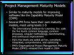 project management maturity models