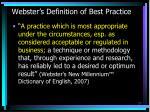 webster s definition of best practice