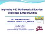 improving k 12 mathematics education challenges opportunities